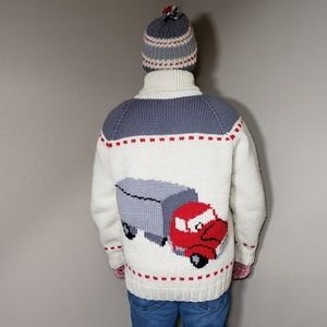 Vtg Dude Sweater Hand Knit Cowichan Cardigan